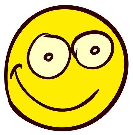 cara sonriente: Emocional divertido sonriente. Hecho en el estilo cómico garabato. Vectores