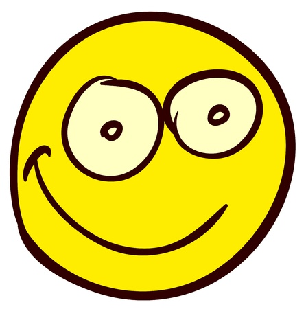 Emotional funny smiley. Done in comic doodle style. Vector