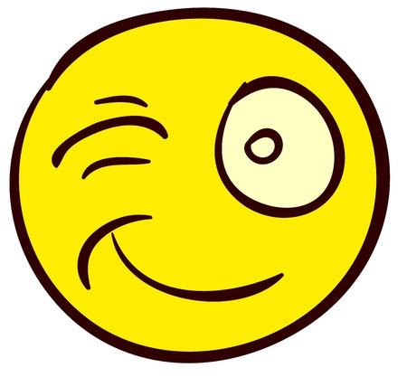 clin d oeil: �motif dr�le smiley. Fait dans le style doodle comique.