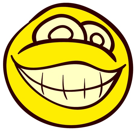 facial painting: Emotional funny smiley. Done in comic doodle style.