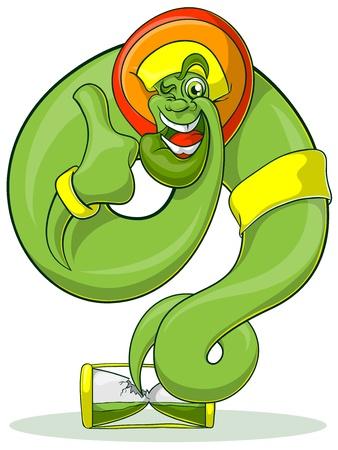 genie: Green Genie rastaman flying out hourglass. Jolly Genie shows thumb. Illustration