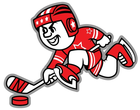 professional sport: Ice hockey leading the puck. May be a logo and mascot team.