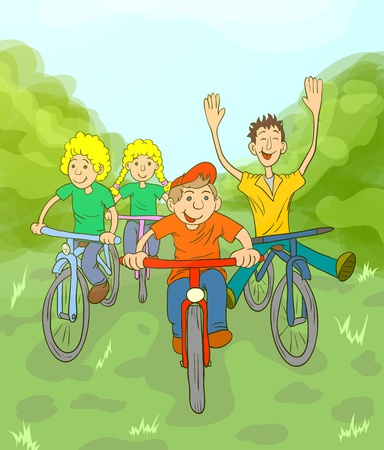Children riding on bikes in the park. Children play in the fresh air. Vector