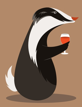 cute cartoons: Old Badger tasting red wine. Illustration