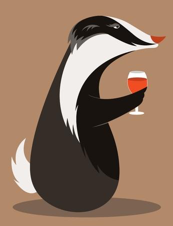Old Badger tasting red wine. Illustration