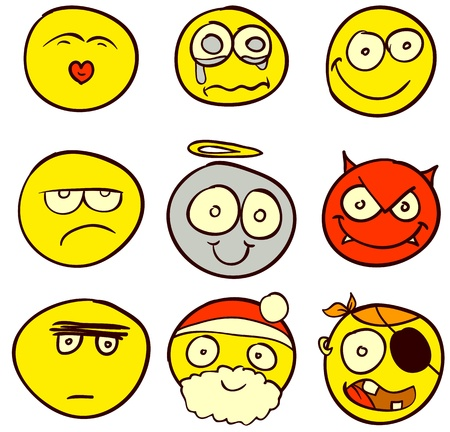 A set of 9 smileys for every taste. Done in comic doodle style. Vector
