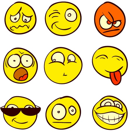 behaviours: A set of 9 smileys for every taste. Done in comic doodle style.