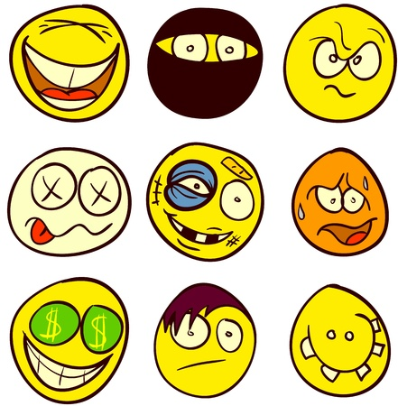 A set of 9 smileys for every taste. Done in comic doodle style. Stock Vector - 17934161