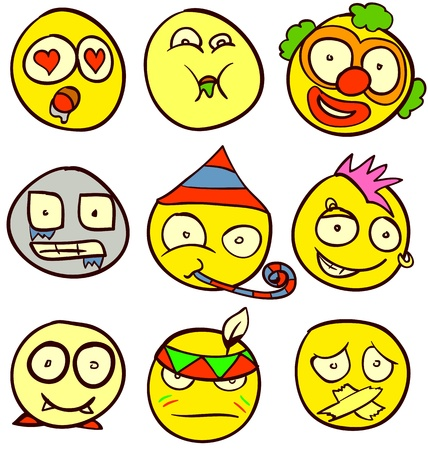 A set of 9 smileys for every taste. Done in comic doodle style. Stock Vector - 17934163