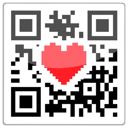 qrcode: QR code with a red heart inside. QR-Code with a glossy effect.