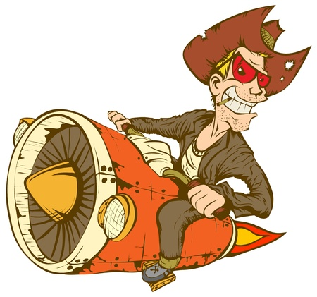 cartoon biker: Biker-cowboy on a motorcycle turbo rocket.