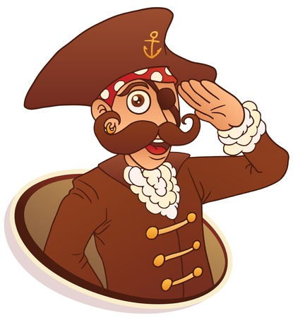 salutes: Eyed pirate salutes hand. The isolated illustration.