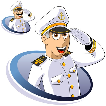 cruise cartoon: Captain of ship salutes. The isolated illustration.