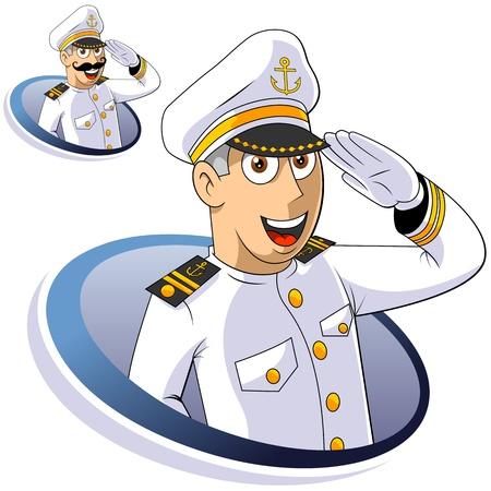 Kapitein van het schip salueert. De geïsoleerde illustratie.