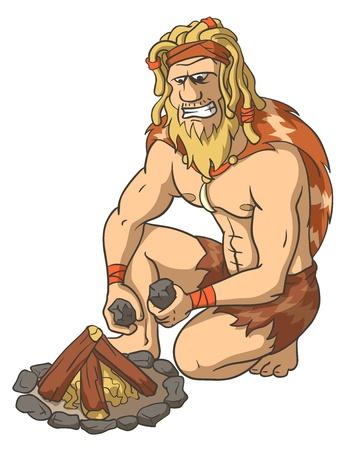 Edad de Piedra: El hombre primitivo se enciende un fuego. Extracci�n de fuego. La ilustraci�n aislada. Vectores