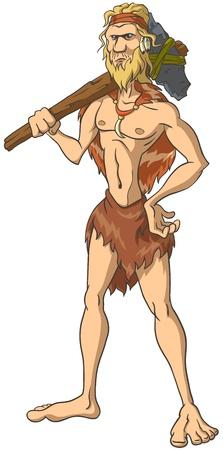 原始人は斧を持つ彼の肩に立っています。孤立した図。