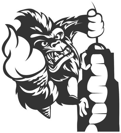 Gorilla como King Kong. Gorila mantiene helado. Ilustración de vector