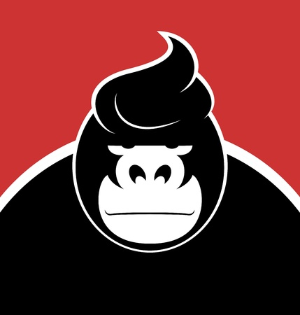 monkey face: Serious face gorilla with a stylish hairdo.