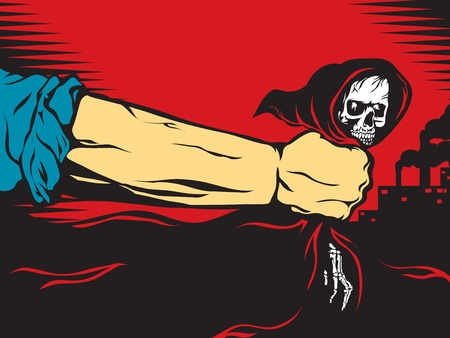 face painting: Working hand grasps death in his fist. Illustration done in retro style of the poster. Illustration