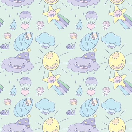 Seamless baby wallpaper. Cute childrens drawings. Vector