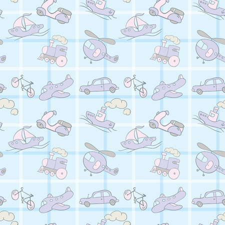 Baby Seamless wallpaper with the image of transport. Vector