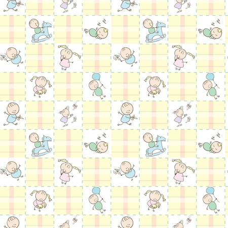 cute baby girls: Baby Seamless wallpaper with the image of children playing. Illustration