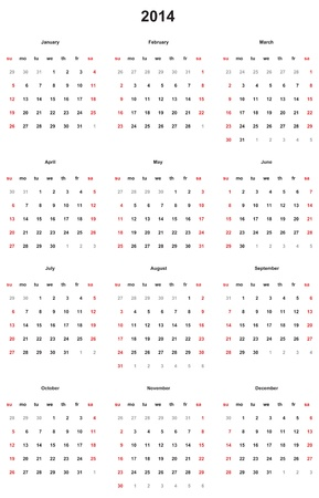 Simple vector calendar for 2014.