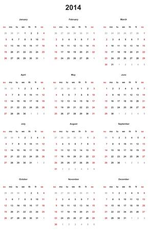 mon 12: Simple vector calendar for 2014.  Illustration