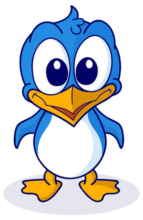 cartoon penguin for babies and little kids. Picture isolated on white background Vector