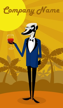 Badger wine taster is holding a glass of wine. There is space for text. Vector