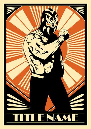 traje mexicano: Cartel luchador mexicano que muestra la fuerza.