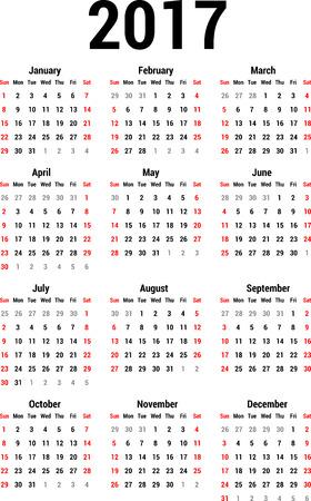 calendario julio: Calendario 2017 Vectores