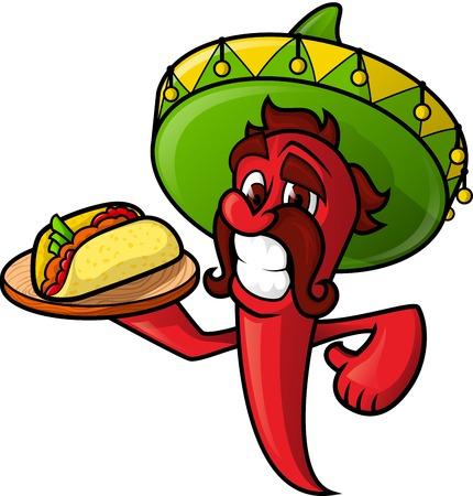 caricatura mexicana: Pimienta mexicana con tacos