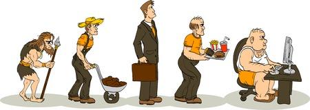 caveman: Evoluci�n de la obesidad Vectores
