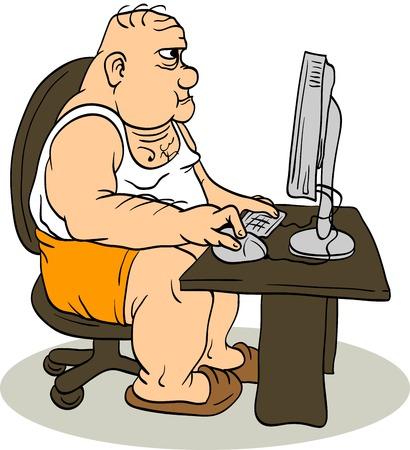Fat Man At The Computer Vector