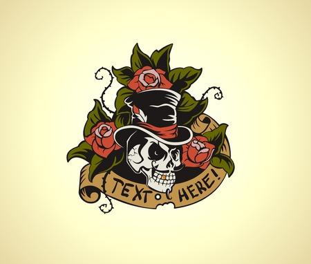 Old School Tattoo Skull Stock Illustratie
