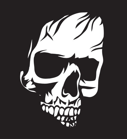 Black and white human skull with a lower jaw. Skull on a black background. Illustration