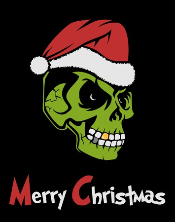 Zombie Santa Claus wishing Merry Christmas. Christmas Grinch terrible. Dreadful Greeting Christmas card. Used Font  Grinched Illustration