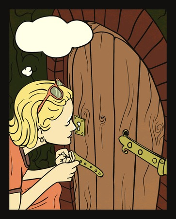 lewis: Girl peeking at a small door. S