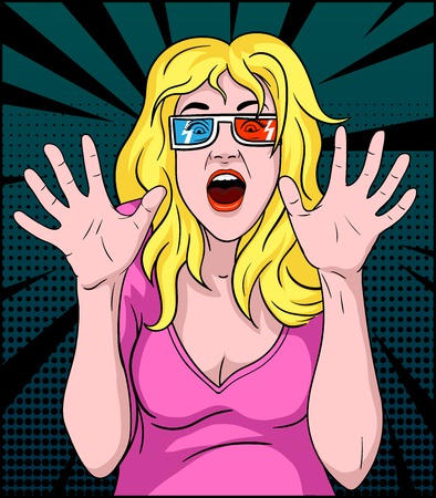 Illustration of a woman screaming in a 3-D movie Illustration
