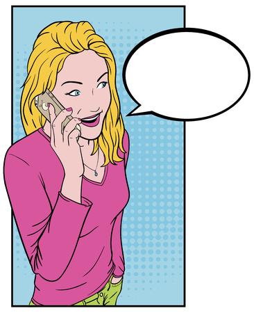 ragazza giovane bella: Bella ragazza a parlare su uno smartphone. Comics bionda e un telefono. Parlare al telefono per il testo Bubble. Vettoriali