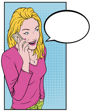 Beautiful young girl talking on a smartphone. Comics blonde and a telephone. Talking on the phone for text Bubble.