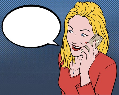 head phones: Modern girl talking on the phone. Illustration in comics style. Illustration