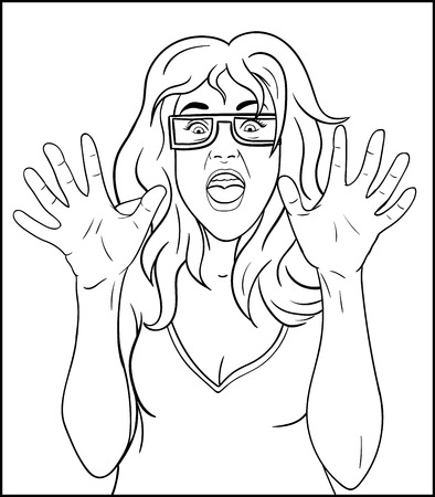 femine: Frightened girl draw the outline. whiteboard drawing - horror woman face Illustration