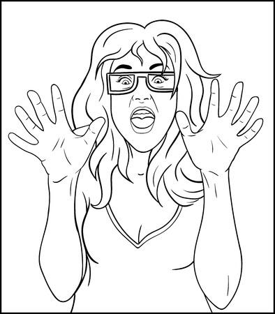 baile caricatura: Muchacha asustada dibujar el contorno. Dibujo pizarra - mujer cara de terror Vectores
