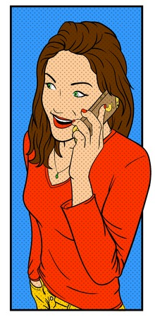 a pink cell: Beautiful young girl talking on a smartphone. Illustration