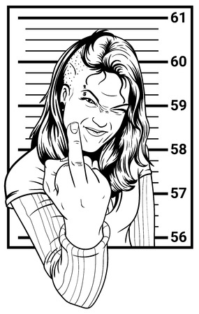 punk hair: Anarchist Inmate shows the middle finger.