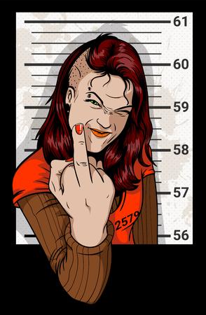 Mädchen fotografiert für ein Strafverfahren. Anarchist Frau von der Polizei festgenommen. Widerstand gegen die Staats. Mädchen zeigt Mittelfinger.