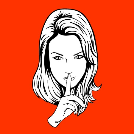 Girl making the sign of silence. woman with silence sign pop art illustration
