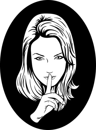 noisily: woman making silence sign silence symbol Illustration
